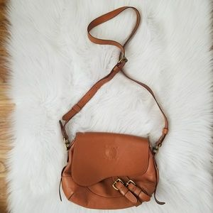 Ralph Lauren Cognac Crossbody w/ brass hardware